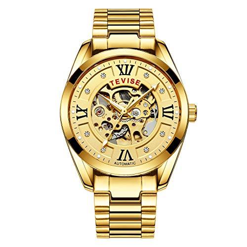 QZPM Reloj Mecánico De Acero Inoxidable para Hombre, De Lujo De Estilo Clásico Impermeable Números Esfera Luminosa Analógico Business Relojes,Full Gold