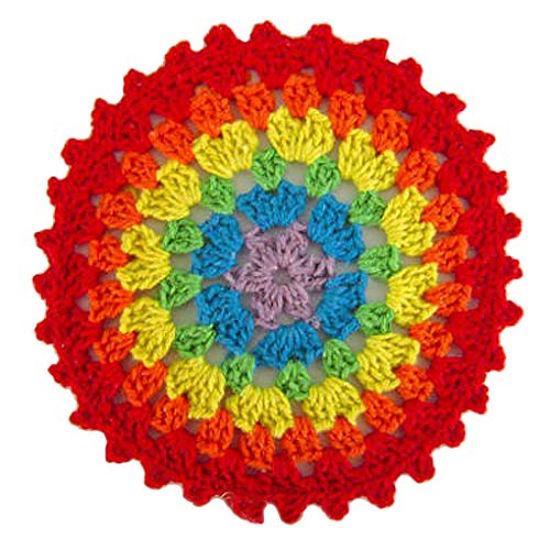 rongweiwang 10 Piezas de algodón Colorido Ganchillo Mantel Mantel Vajilla Almohadilla de algodón Resistente al Calor manteles Individuales Copa Posavasos Ronda Vajilla Pad