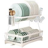 Iceeting Life Abtropfgestell mit 2 Ebenen, mit Abtropfbrett, Geschirrkorb mit Utensilienhalter und Glashalter, 2 Etagen, Küchenorganizer mit Abtropfgestell für die Küche