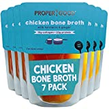 Chicken Bone Broth - 12oz 7 Pack by Proper Good, Keto, Gluten Free, Turmeric, Ginger, Collagen, Protein, Hearty, Healthy, Shelf Stable, No Refrigeration Required