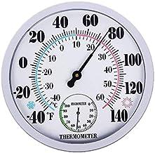 Xu Yuan Jia-Shop Termómetro Higrómetro Termómetro Redondo con higrómetro Termómetros de Clima de Pared Exterior Grande para Exteriores No se Requiere batería Digital Termohigrómetro (Color : White)