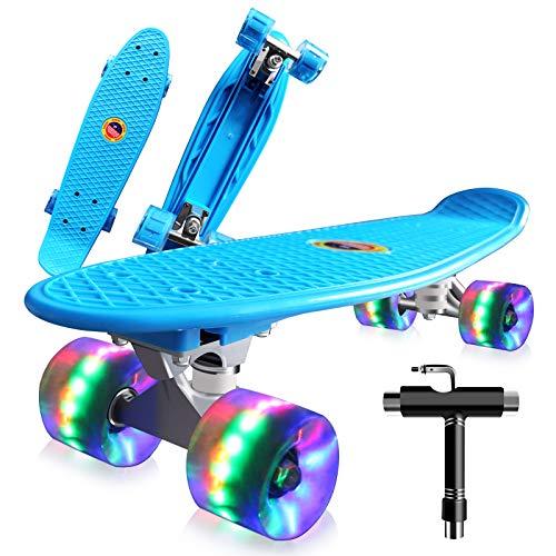 Cutemelo Skateboards 55cm Mini Cruiser Skateboard Completo retrò per Ragazza, Ragazzo, Giovani, Adulti, Principianti con Ruote LED Lampeggianti, con Strumento T(Blu)