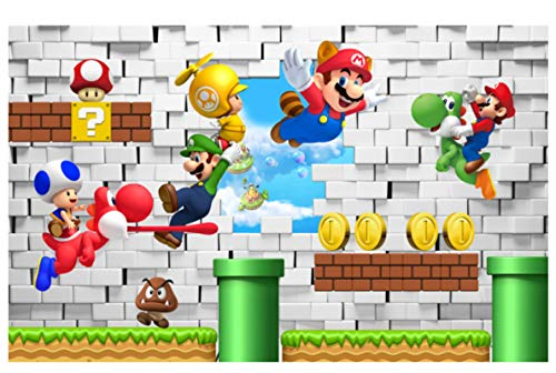 Kinder Kinderzimmer Super Mario Fly 3D View Kunst Wandaufkleber Abziehbilder Schlafzimmer Abnehmbares Wandbild Mario Wallpaper