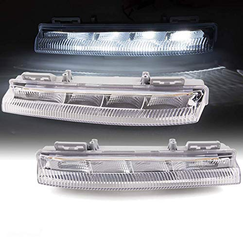 2Pcs/Set White LED Daytime Running Light Compatible For Mercedes-Benz C-Class W204 S204 E-Class W212 SLK-Class R172 C230 C250 C300 C350 E350 E400 E550 SLK250 SLK350