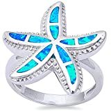 Oxford Diamond Co Lab Created Blue Fire Opal Starfish .925 Sterling Silver Ring Size7