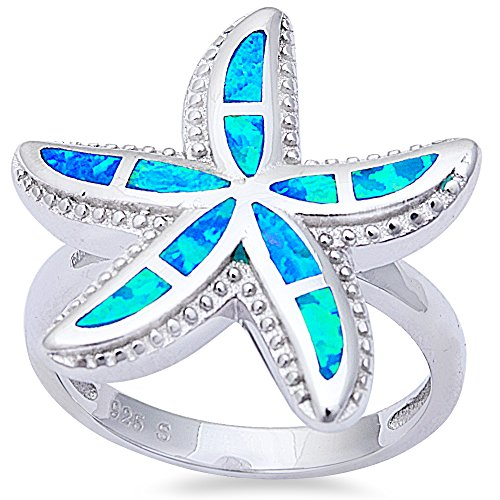 Oxford Diamond Co Lab Created Blue Fire Opal Starfish .925 Sterling Silver Ring Size6
