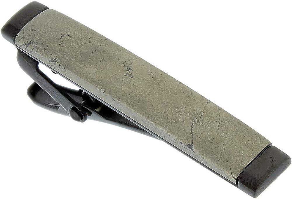 IBG Men's Stainless Steel Carbon Fiber Chalcopyrite Walnut Wood Tie Bar Tie Clip