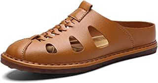 Ranipobo Men Microfiber Leather Lightweight Anti-Slip Flat Shoes Woven Waterproof Slip-on Round for Men (Color : Brown, Size : 6 UK)