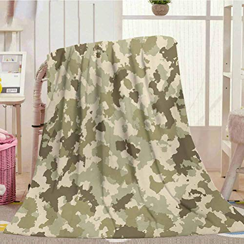 """Weighted Blanket Kids 40"""" x 50"""", Camo Cozy Blanket Old Fashioned Camouflage Pattern Classical Jungle Survival Theme, Army Green Pale Green Cream"""