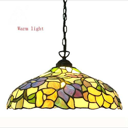 Tiffany Stijl Kroonluchter, 14 Inch Handcrafted-mand Stained Glas Hanger Lamp, Plafond Lampen Voor Woonkamer Slaapkamer Cafe 110V-240V E27 (Zonder Lichtbron)