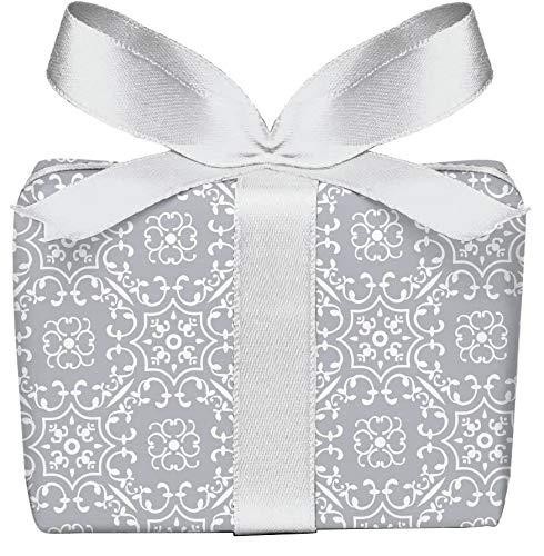3er-Set Geschenkpapier Bögen UNIVERSAL RETRO in GRAU mit Ornamente zu jedem Anlass • Für Geburtstage, Hochzeit, Weihnachtsgeschenke, Adventskalender • Format : 50 x 70 cm