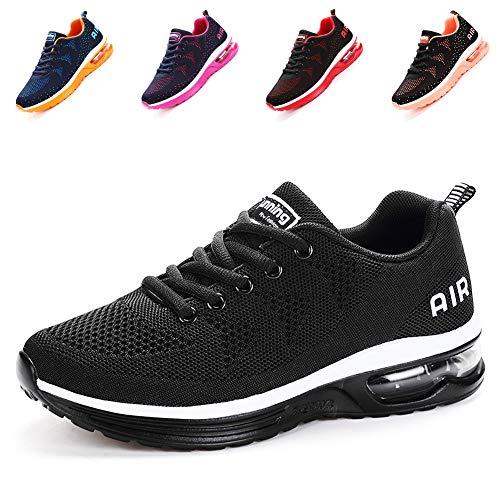 populalar Herren Damen Laufschuhe Turnschuhe Sportschuhe Straßenlaufschuhe Sneakers Atmungsaktiv Trainer für Running Fitness Gym Outdoor Leichte-BlackWhite44