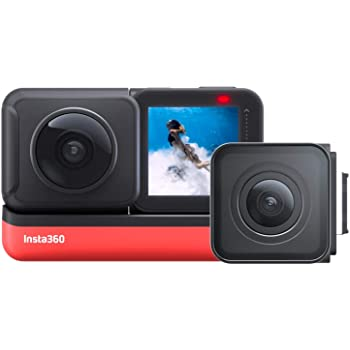 Insta360 ONE R Twin Edition – Action Camera & 360 Camera with Interchangeable Lenses, Stabilization, IPX8 Waterproof, Touch Screen, AI Editing
