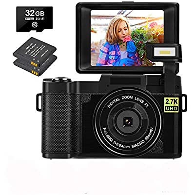 Digital Camera 30.0 MP Vlogging Camera 2.7K Full HD Vlog Camera with 3 Inch Flip Screen and Vlogging Camera for YouTube with 2 Batteries from CEDITA