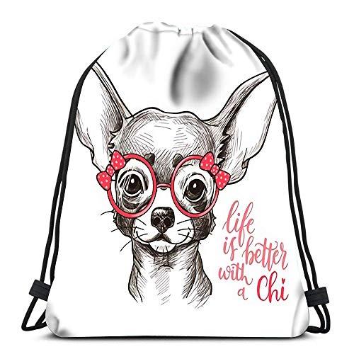 Mochila con cordón Bolsas Deportivas Cinch Tote Bags Chica Chihuahua Imprimir Lindo boceto de Perro de Moda para Viajar