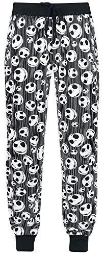 The Nightmare Before Christmas Pesadilla Antes De Navidad Jack Skellington - Skulls Mujer Pantalón de Pijama Negro XXL, 100% algodón,