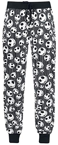 The Nightmare Before Christmas Pesadilla Antes De Navidad Jack Skellington - Skulls Mujer Pantalón de Pijama Negro M, 100% algodón,