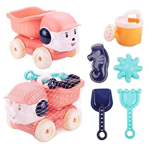 Ganmek Juego de 6 Juguetes de Arena para la Playa Juego de Juguetes para la Playa para niños Juguetes de baño para bebés con Cubo regadera Palas de Playa rastrillos Modelos y moldes Top Sale