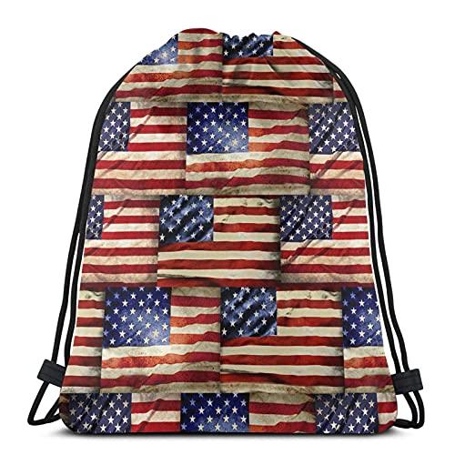Lmtt Mochila con cordón, deportes, gimnasio, mochila, bolsa de viaje, banderas americanas vintage