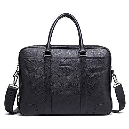 BISON DENIM Herren Leder Aktenkoffer Laptoptasche Schulter Messenger Bag 14 zoll Businesstachen 2 Hauptfach