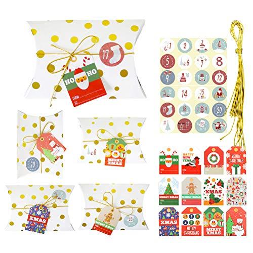 ABOOFAN 1 Unidades Cajas de Regalo de Navidad Creativo Wave Dot Stripe Candy Boxes Gold Stamping Cajas Decoraciones de Navidad