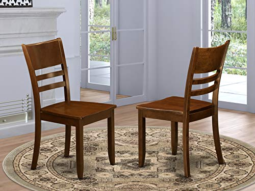 East West Furniture Lynfield dining chairs set of 2 - Wooden Seat and Espresso Solid wood Frame dining chairs