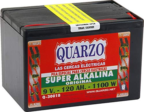 Quarzo Q-30018 Pila para Pastor eléctrico 9 V-120 Ah-1100 W, Negro