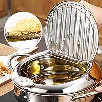 天ぷら鍋揚げ鍋フライドポテトの鍋揚げ物鍋はね防止油なべの蓋付き温度計付ステンレス鋼キッチン用 IH対応,24cm