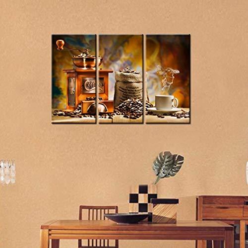 MMLFY 3 opeenvolgende schilderijen Moderne home muurkunst decoratie foto's 3 stuks koffiemolen machine koffiebonen HD gedrukt schilderij op canvas poster No Frame 40 cm x 60 cm x 3 stuks, geen frame.