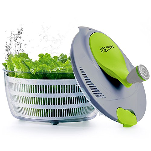 Home Puff Salad Spinner Large 5.2 Quarts Fruits & Vegetable Dryer Quick Dry Design BPA Free