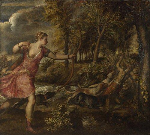 Das Museum Outlet–Tizian–Der Tod des Aktaion, gespannte Leinwand Galerie verpackt. 40,6x 50,8cm