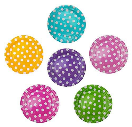 36 platos de papel de 23 cm de diámetro, multicolor, con lunares, redondos, aptos para alimentos, revestidos, 6 de color azul, verde, amarillo, rosa, morado y rosa.