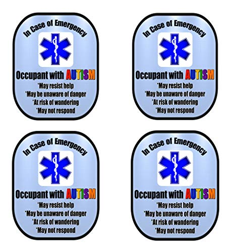 Fantastic Deal! Autism 4 Pack Medical Alert Safety Window Decal Sticker