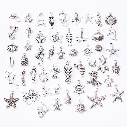 50PCS Ciondoli Misti Bigiotteria Charm Oceano Animali Stili per Gioielli Fai da Te Assortiti Ciondoli per Gioielli Fai da Te Collane Bracciali Orecchini Regali a San Valentino