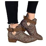 Botines cortos para mujer, estilo vintage, con punta redonda, con hebilla, estilo informal, antideslizantes, tacón cuadrado transpirable, de piel, cortos, zapatos cortos