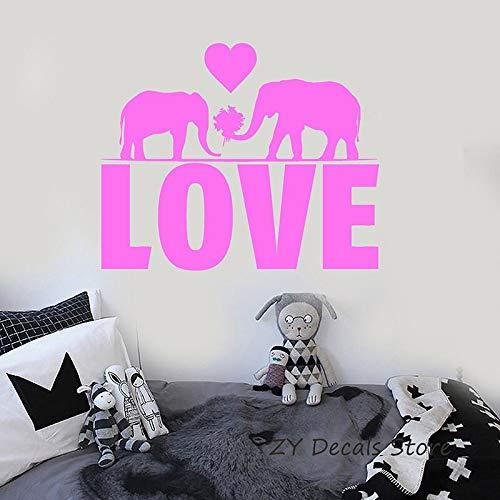 BailongXiao Love Elephant Adesivi murali Adesivi murali romantici a Forma di Cuore Camera da Letto Decalcomanie mobili Soggiorno Art Mural 56x69cm