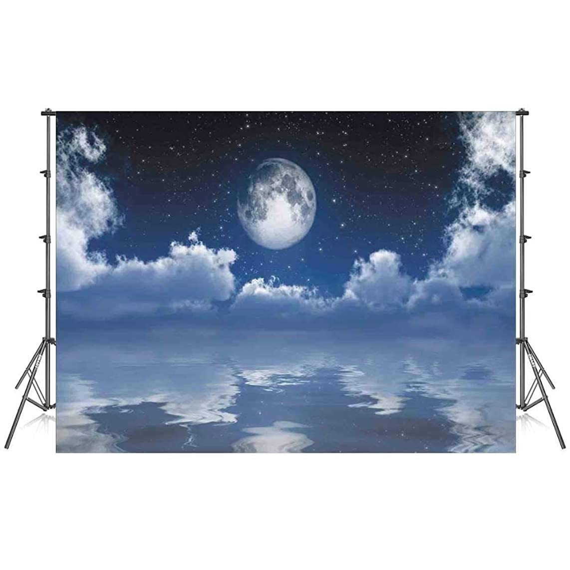 Ocean Stylish Backdrop,Scene of Mystic Full Moon with Majestic Cloudscape Reflected on The Sea for Photography Festival Decoration,86''W x 59''H