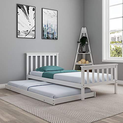 UNDRANDED Single Bed Frame Daybed in White Solid 3FT Wooden Guest Bed Bedroom Furniture For Adults, Kids, Teenagers
