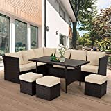 U-MAX 7 Pieces Outdoor Furniture Set, Wicker Rattan Patio Sectional Sofa Sets, Wicker Sectional Patio Set, Patio Dining Furniture with Table&Chair, Brown Rattan & Tan Cushion