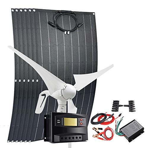 Solar-Windanlage mit Zubehör 400W Windturbine Generator 100 Watt ETFE flexibles monokristallines Solarpanel, without inverter, 1000 W (400 W Wind + 600 W Solar).