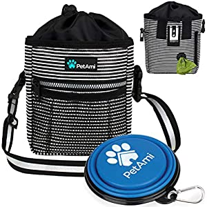 PetAmi Dog Treat Pouch | Dog Training Pouch Bag with Waist Shoulder Strap, Poop Bag Dispenser and Collapsible Bowl | Treat Training Bag for Treats, Kibbles, Pet Toys | 3 Ways to Wear