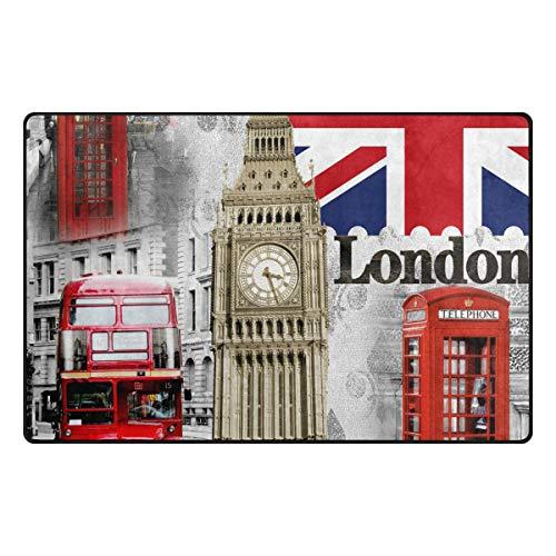 Red Box London Big Ben Alfombras para Sala de Estar Hogar Dormitorio Alfombras Decorativas 31 x 20 Pulgadas Alfombra Alfombrilla Antideslizante Azul Marino