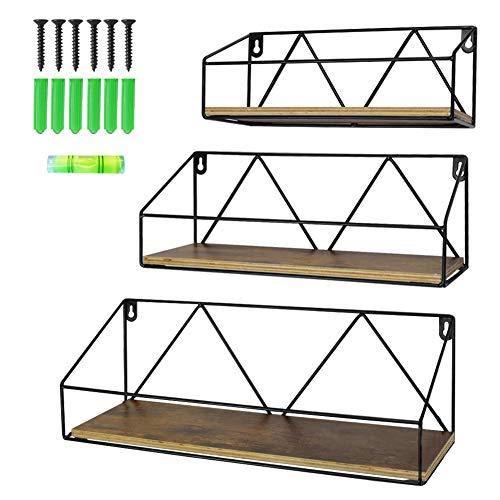 Amazon Brand - Umi 3er Set Wandregal Hängelregal Schweberegal für Wöhnzimmer Schlafzimmer Büro Küche oder Flur, Rustikal Länge 27/33/41CM