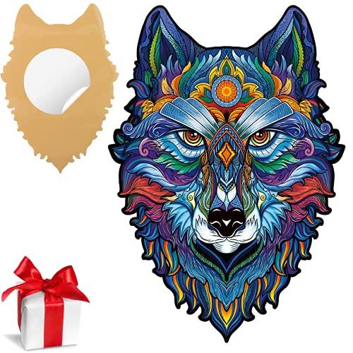 SAKHRI PARIS® - Rompecabezas de madera de animales coloridos - Max el lobo de París - Juego de lluvia de ideas | Puzzle para adultos y niños - 150 piezas - Adhesivo de pared GRATIS - Idea de regalo