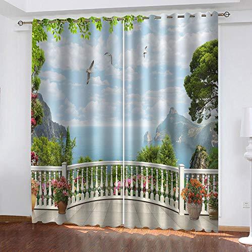 LucaSng Cielo Azul cortinas cocina cortas 2 piezas Paisaje Marino De Baiyun...