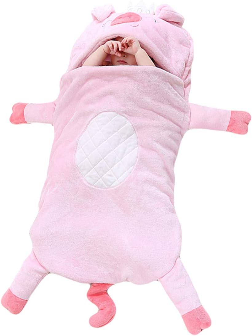 TONWHAR Baby Sleeping Bag 0-2 Years Newborn Baby Cartoon Animal Sleepsack Stroller Toddler's Wearable Blanket(Crown Pig)