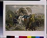 Foto: Llaves de cruce Emigrantes, equipos de OX, vagones cubiertos, viajes, F Darley, HB Hall, c1869. Talla: