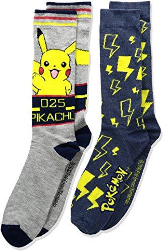 Pokemon Boys' Big 2pk Crew Socks, Assorted Dark, 10-13