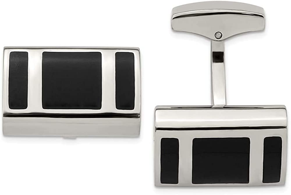 FB Jewels Solid Stainless Steel Polished Black Rubber Rectangle Cuff Links