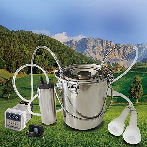 LSCZQ Ordeñadora eléctrica portátil de 220V, Barril de Bomba de vacío Ajustable de 5L, Acero Inoxidable ecológico, Seguro e higiénico, fácil de almacenar